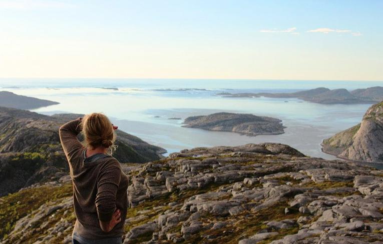 Hiking in a Norwegian fiord