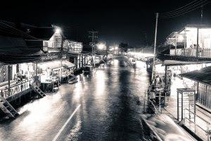 Nighttime view of Amphawa, Thailand
