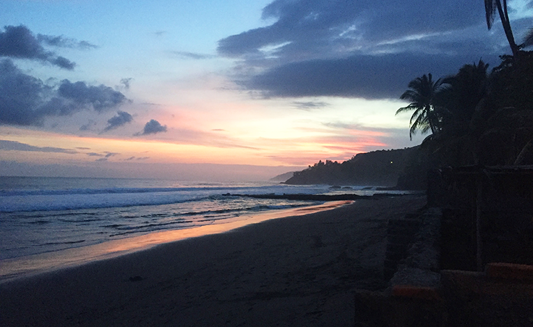 Sunset over a beach in El Salvador