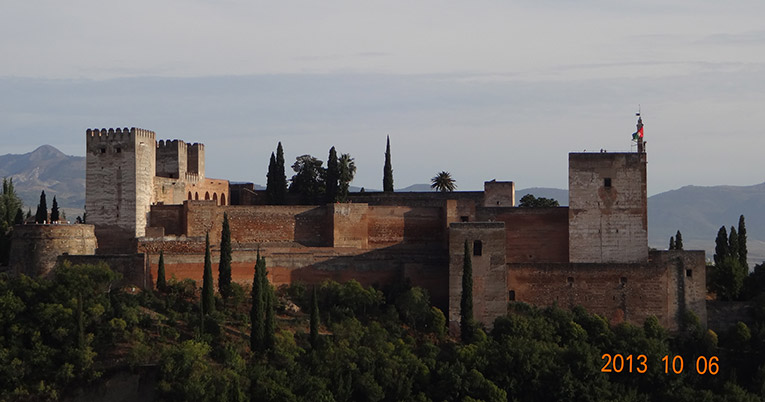 Overlooking La Alhambra from El Mirador de San Nicolas in Spain
