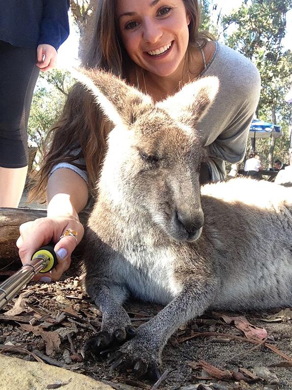 Petting a kangaroo in Australia