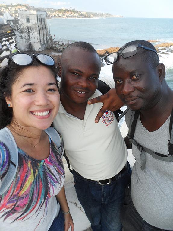 International intern and her hosts in Cape Coast, Ghana