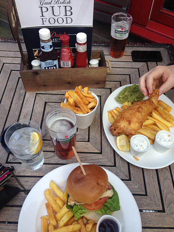 Burger and chips at a pub in London, England