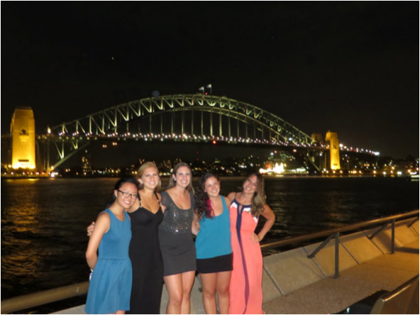 Study abroad students at the Sydney Harbor Bridge at Night