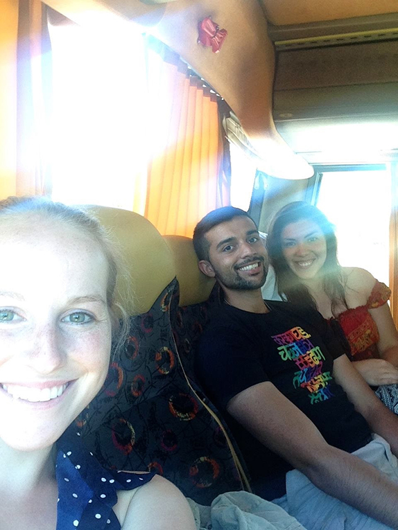 International students on a bus in Spain