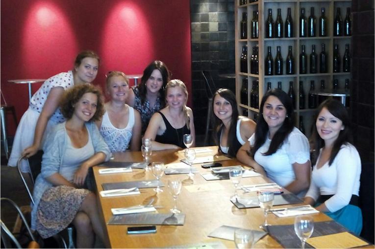 Friends having dinner in France