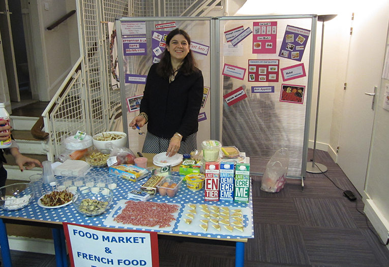 French food tasting stand at a student fair in France