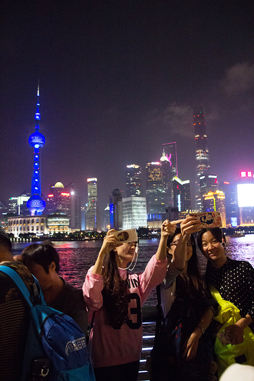 Selfie sticks in the Bund, Shanghai, China