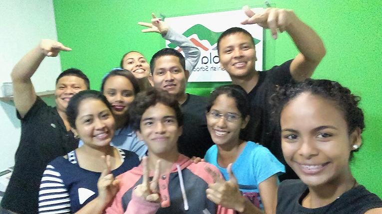 Students with their Spanish teacher