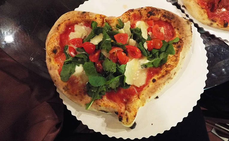 Heart-shaped pizza from Gusta Pizza in Florence, Italy