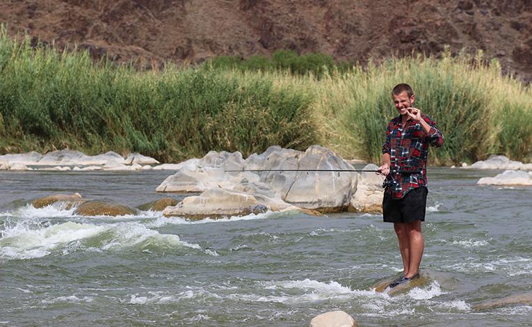 Man fishing in the Richtersveld