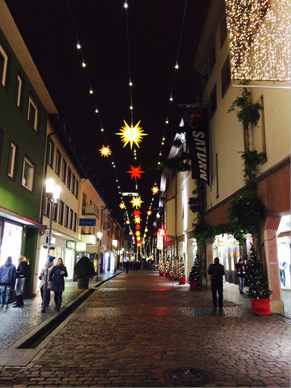 A street in Freiburg at Christmas time
