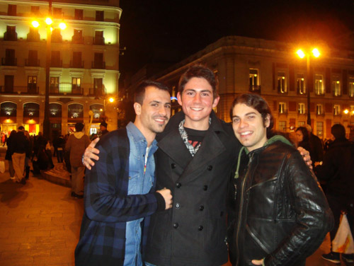 Gregg with two of his Spanish friends from the university downtown in Puerta del Sol.