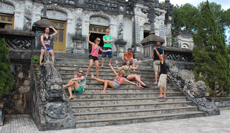 Tourists at a site in Vietnam
