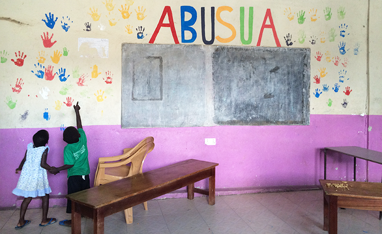 Handpainted mural at an orphanage in Ghana