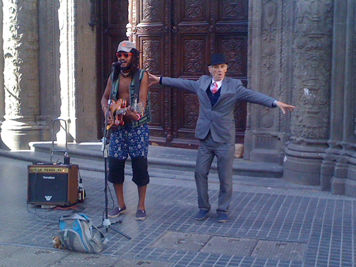 Street performers along Corrientes street in Buenos Aires.