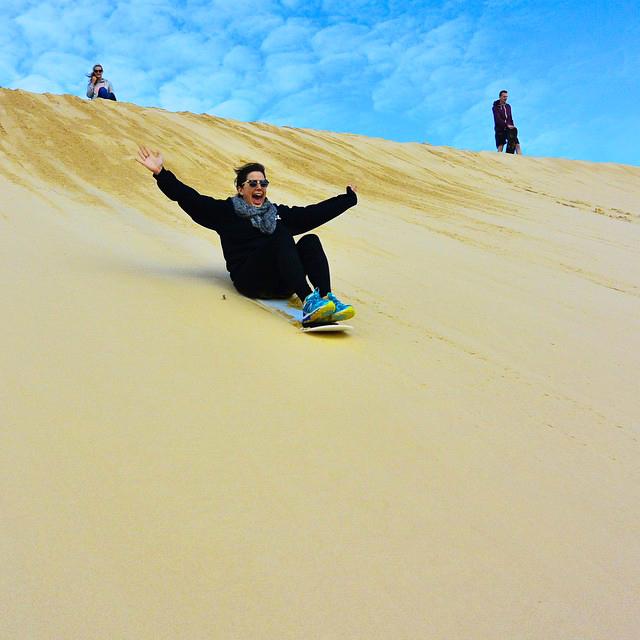 Sand sledding in Port Stephens, Australia
