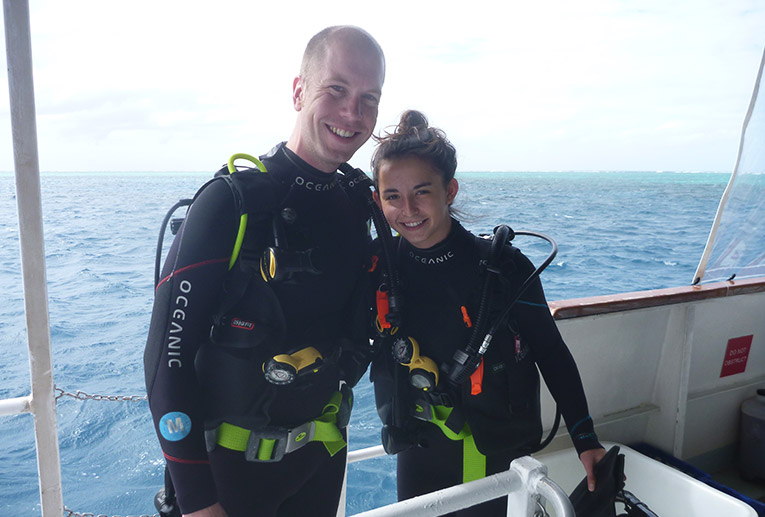 Open water scuba diving at the Great Barrier Reef in Australia
