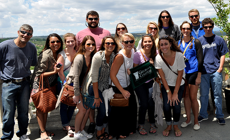 Study abroad students in Madrid, Spain