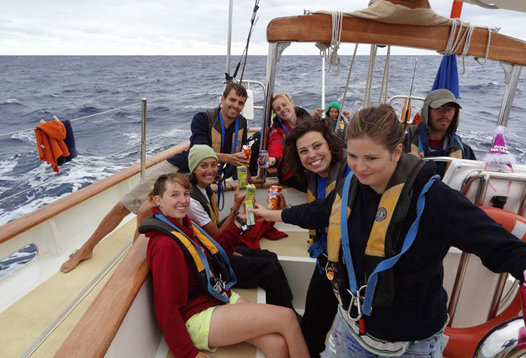 Students on a boat near Morocco