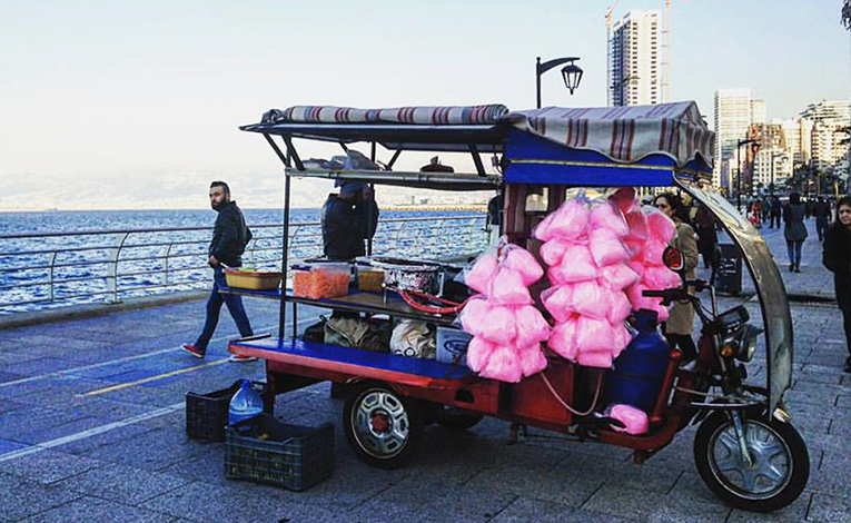 Cotton candy food cart on the Corniche in Lebanon