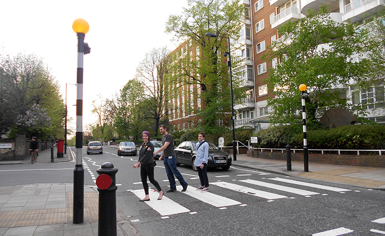 Students walking across Abbey Road