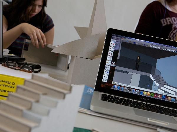 CAD work in the architecture studio, Nottingham Trent University
