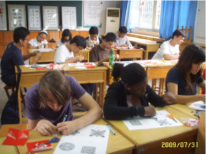 Students in an art class in China