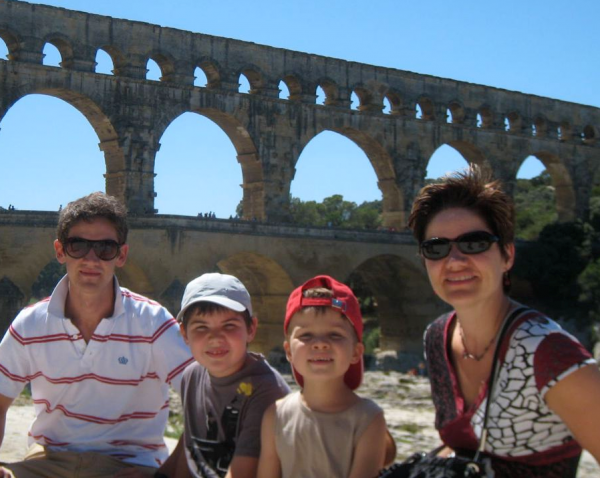 A family on vacation in France
