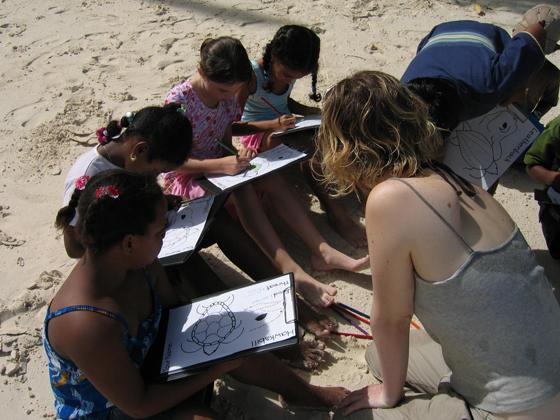 Art class at the beach