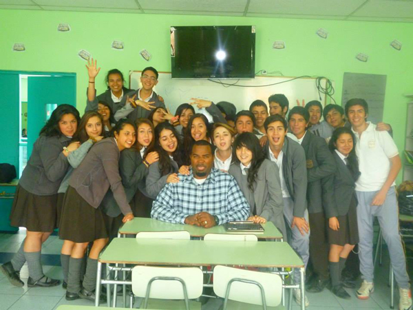 Volunteer with his class in Chile.