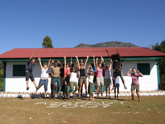 Volunteers doing a jump shot
