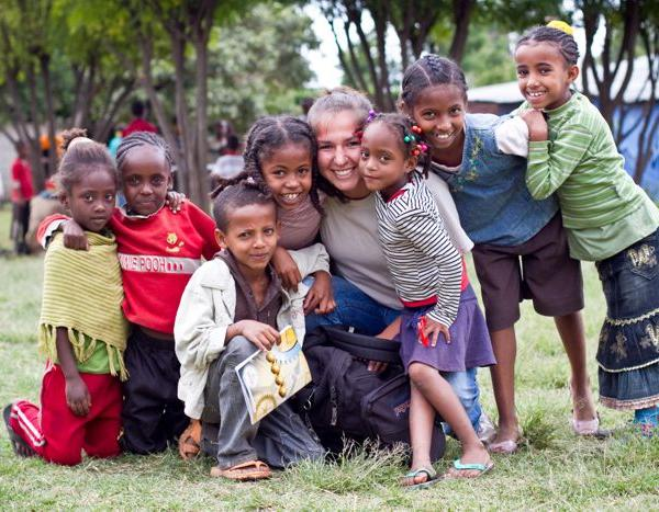 Volunteering with a group of children on a mission trip to Ethiopia, Africa