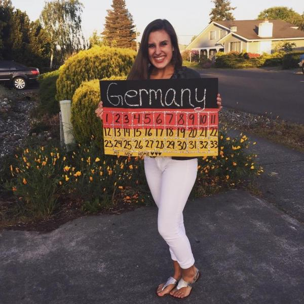 Counting down the days to her Au Pair experience in Germany!