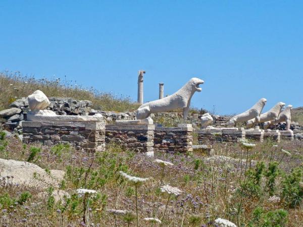 naxian lions delos greece ruins architecture