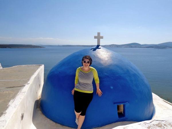 blue dome church sea greece