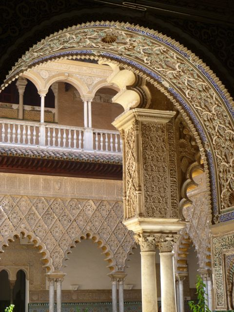 View through an archway to Patio de las Doncellas in the Real Alcazar de Sevilla, by Samantha Kruise