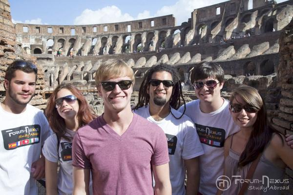 Students at the colosseum in Rome