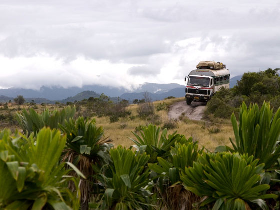 A moving bus in the middle of the safari of Madagascar