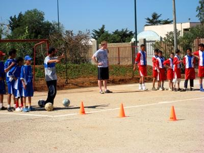 A Projects Abroad volunteer running drills with his students in Morocco