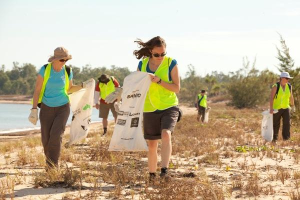 Volunteers helping with a beach clean up