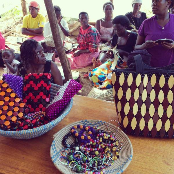 Uganda women making their crafts