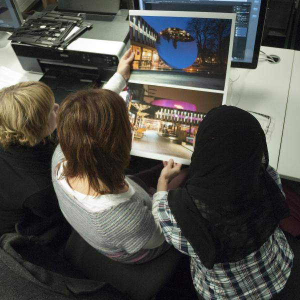 Editing photographs at Nottingham Trent University summer school