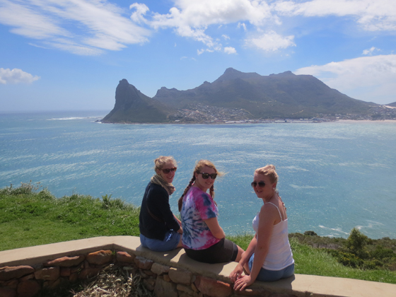Girls enjoying the South African sea view