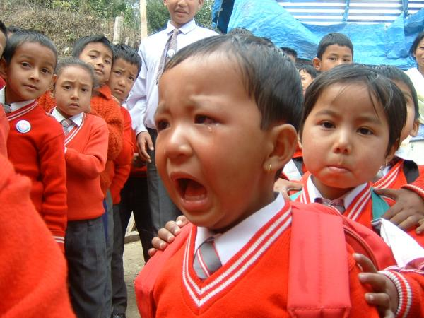 Boy cries at first day of school in Sikkim