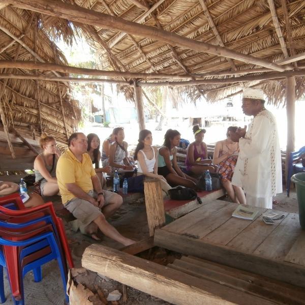 Students learn about Garifuna spirituality in Dangriga