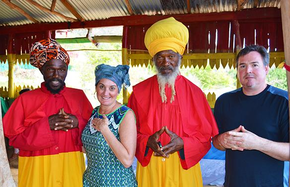 Drexel University Faculty Leaders with Rastafarians on their Cultural Immersion trip to the Bobo Hill Rastafari camp in Bull Bay, Jamaica