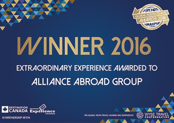 Winner of 2016 Global Youth Travel Extraordinary Experience!
