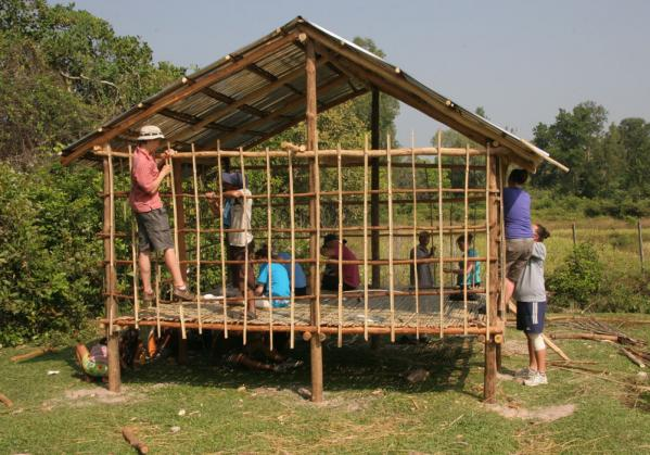 Volunteer house building in Cambodia