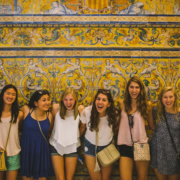 Group of Pre-AP Literature students visiting the Alcazar Palace in Sevilla, Spain